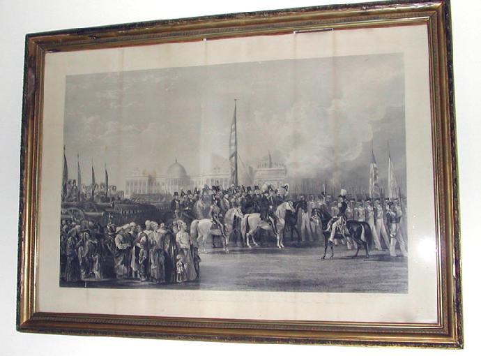 19th c. British School Engraving entitled 'TRIUMPHAL RECEPTION OF THE SEIKH GUNS' by W. Taylor