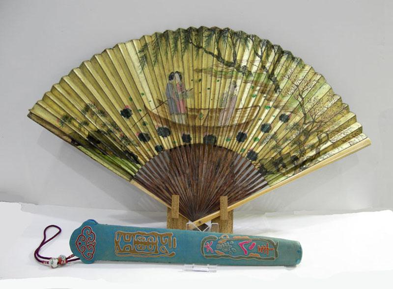 Antique Chinese Silk Embroidered Fan Case and Gold Fan - Qing