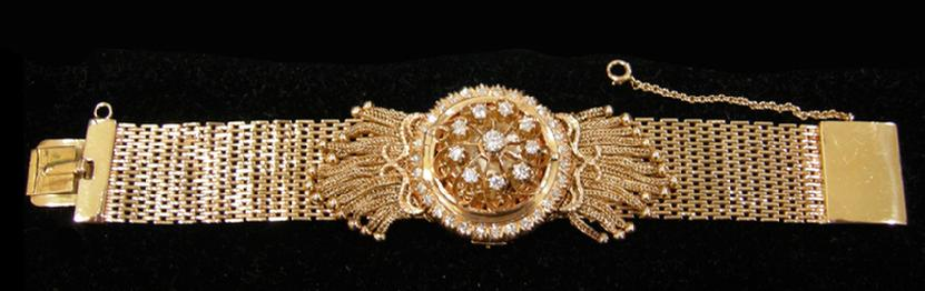 Antique Ladies Rosiers 14k Yg And Diamond Watch With Kar
